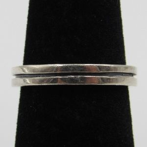 Size 6 Sterling Silver Rustic Simple Inlay Band